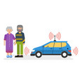 car with satellite control for the elderly couple vector image vector image