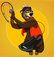 cartoon character bear fisherman caught the bait vector image vector image