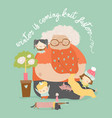 cartoon funny grandmother knit for her vector image vector image