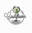 cauliflower vegetable logo round linear on white vector image vector image