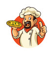 chef pizza mascot design vector image vector image