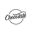 chocolate hand written lettering logo vector image