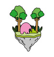 color elephant animal with trees in the float vector image vector image