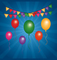 colorful flying balloons pennants bright and blue vector image