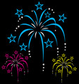 colourful stylized cartoon fireworks vector image vector image
