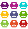 cook icon set color hexahedron vector image vector image