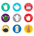 for set of colored ceramic teapot vector image vector image