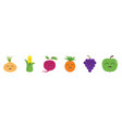 fruit berry vegetable smiling face icon set line vector image