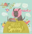 funny dog and cute cat meeting spring vector image vector image