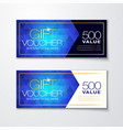 gift voucher set with blue diamond pattern vector image vector image