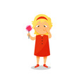 girl with a lollipop in her hands suffering from vector image