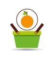 green basket fresh orange design icon vector image vector image