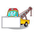 grinning with board cartoon tow truck isolated on vector image