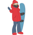 happy young man with snowboard vector image