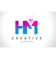 hm h m letter logo with shattered broken blue vector image vector image