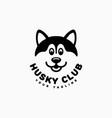 husky club logo vector image vector image