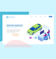 isometric auto repair service station workers in vector image vector image