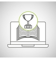 learn online book trophy winner design vector image