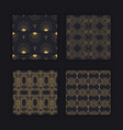 luxury art deco seamless pattern gold black set vector image vector image