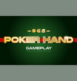 poker hand word text logo banner postcard design vector image vector image