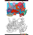 sea life animal characters coloring book vector image vector image