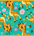 seamless pattern with cute baby giraffe vector image