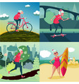 senior adult woman outdoor sport activity workout vector image
