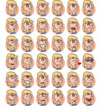 set of blond young girl emojis vector image