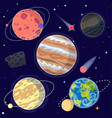 set of cartoon planets and space elements vector image