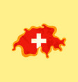 switzerland - map colored with swiss flag vector image