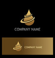 water drop oil gold logo vector image vector image
