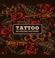weapon with roses tattoo seamless pattern vector image vector image