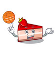 with basketball strawberry cake character cartoon vector image vector image