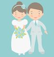 Cute bride and groom vector image