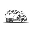 hand drawn truck with giant vegetables vector image
