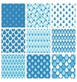 Set of blue water drops seamless patterns vector image