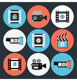 Set of Movie and Video Flat Circle Icons vector image