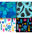4 seamless tropical jungle floral patterns vector image