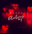 abstract red hearts bokeh lights background vector image