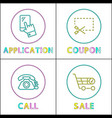 application and coupon call and sale linear icons vector image