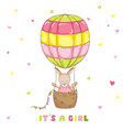 baby girl kangaroo with a balloon baby shower card vector image vector image