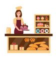 baker woman in bakary shop