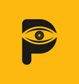 black yellow p initial letter with eye logo vector image vector image