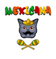 cat face cat with sombrero mustache maracas vector image