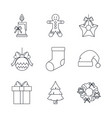 christmas decorative icons vector image