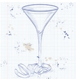 Cocktail Vesper mixed drink on a notebook page vector image
