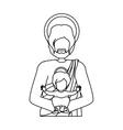 contour half body saint joseph with baby jesus vector image vector image