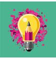 creative idea lamp bulb and pencil art vector image