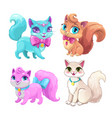 cute cartoon fluffy cats set vector image vector image