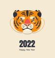 cute cartoon tiger head in flat style vector image vector image